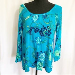Lilly Pulitzer long sleeve blue floral top